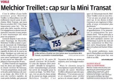 Le projet marseillais OBJECTIF MINI-TRANSAT dans La Provence