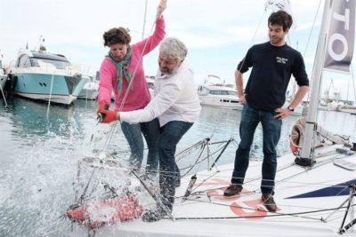 Les navigateurs Yvan Bourgon et Cécile Poujol baptisent Boulègue !
