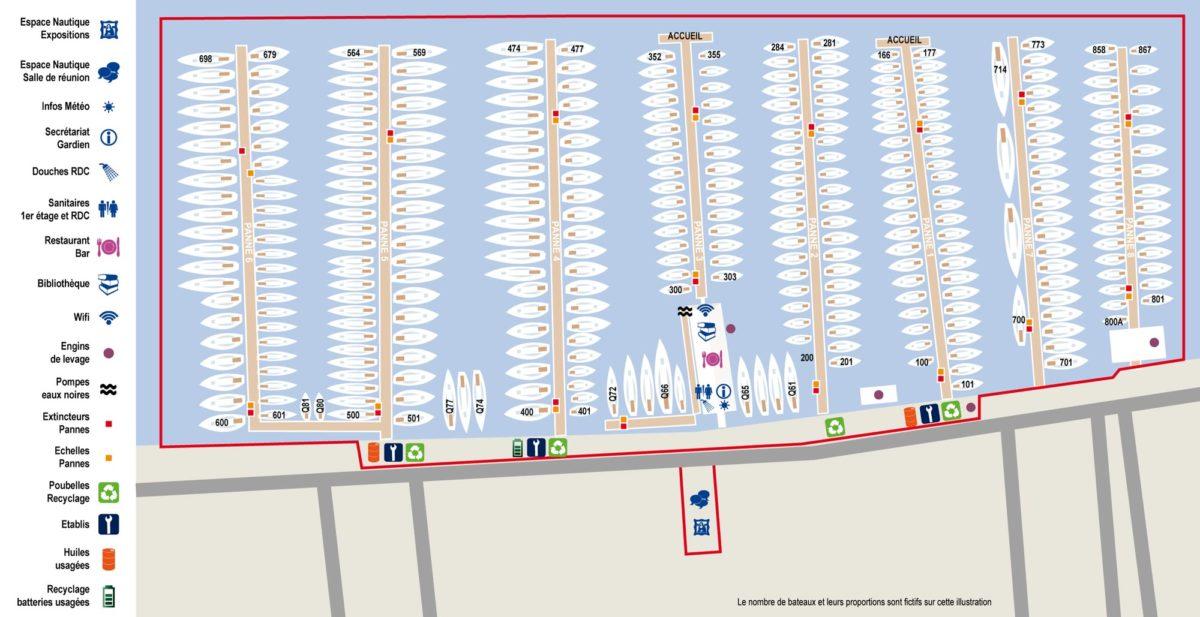 Plan des pannes SNM du Vieux-Port de Marseille