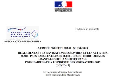 COVID-19 : arrêté préfectoral du 24 avril 2020 réglementant la navigation
