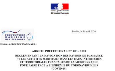 COVID-19 : arrêté préfectoral du 18 mai 2020 réglementant la navigation