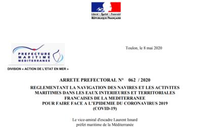 COVID-19 : arrêté préfectoral du 8 mai 2020 réglementant la navigation